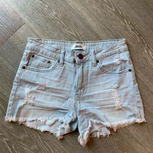 Light wash distressed denim shorts Size S